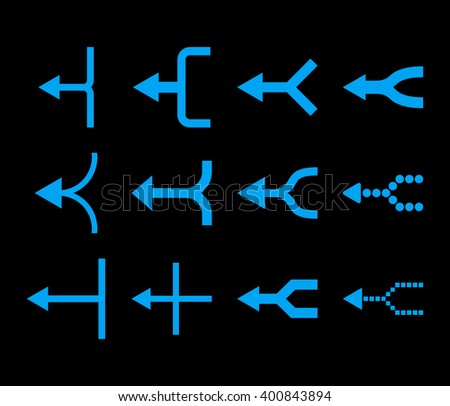 Unite Arrows Left vector icon set. Collection style is blue flat symbols on a black background. Unite Arrows Left icons. - stock vector