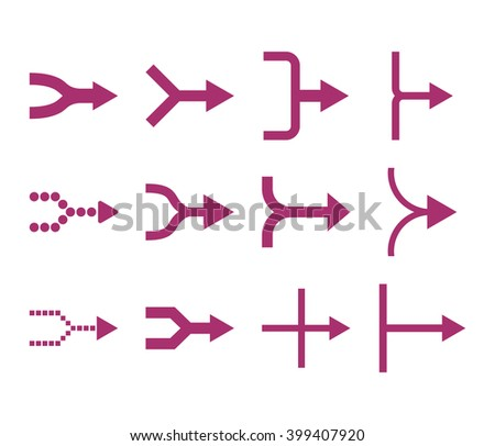 Unite Arrows Right vector icon set. Collection style is purple flat symbols on a white background. - stock vector