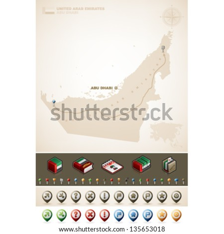 United Arab Emirates and Asia maps, plus extra set of isometric icons & cartography symbols set - stock vector