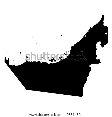 United Arab Emirates black map on white background vector - stock vector
