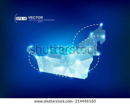 United Arab Emirates country map polygonal with spot lights places - stock vector