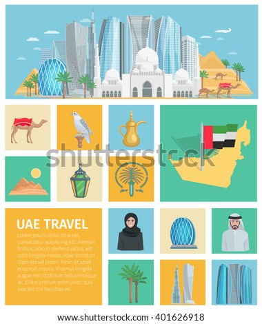 United arab emirates decorative icons set with traditional clothes and travel symbols of country isolated vector illustration  - stock vector