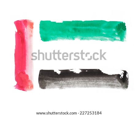 United arab emirates flag colors. Bold brush strokes vector illustration.
