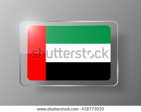 United Arab Emirates Flag Glossy Button. Vector illustration. - stock vector
