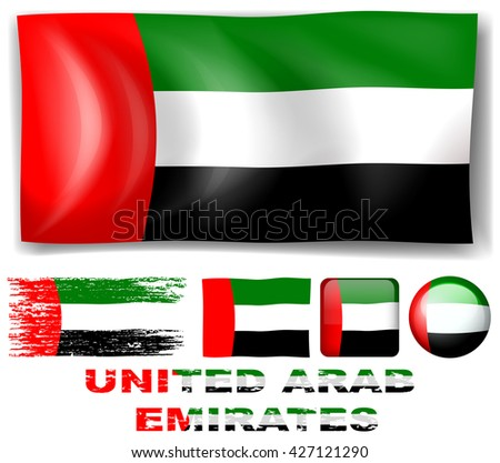 United Arab Emirates flag in different designs illustration