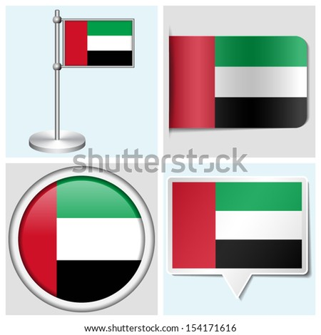 United arab emirates flag set of various sticker button label and flagstaff