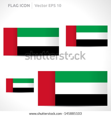 United Arab Emirates flag template | vector symbol design | color red green white and black | icon set