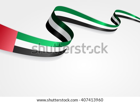 United Arab Emirates flag wavy abstract background. Vector illustration. - stock vector