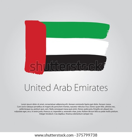 United Arab Emirates Flag with colored hand drawn lines in Vector Format - stock vector