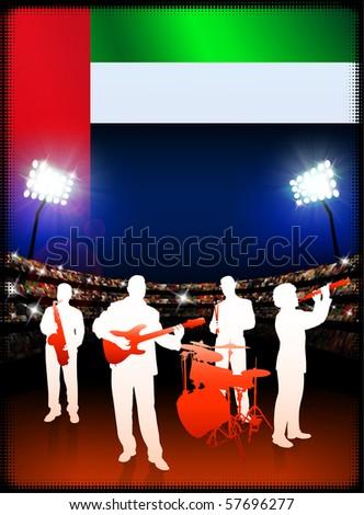 United Arab Emirates Flag with Live Music Band on Stadium Background Original Illustration - stock vector