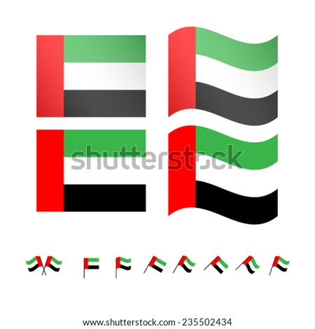 United Arab Emirates Flags EPS10