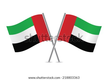 United Arab Emirates flags. Vector illustration.