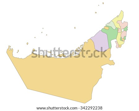 United Arab Emirates - Highly detailed editable political map. - stock vector