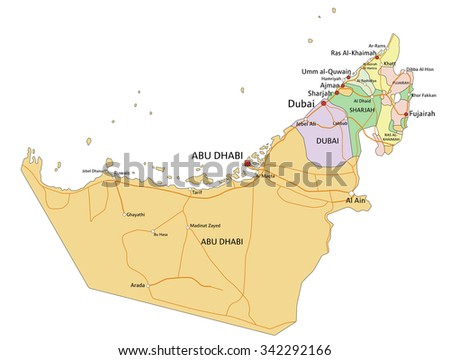 United Arab Emirates Highly Detailed Editable Stock Vector 342292166