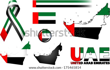 United Arab Emirates Icons. Set of vector graphic images and symbols representing the United Arab Emirates (UAE). - stock vector