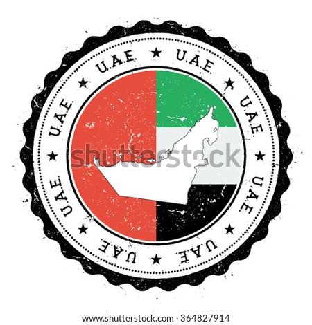 United Arab Emirates map and flag in vintage rubber stamp of country colours. Grungy travel stamp with map and flag of United Arab Emirates, vector illustration - stock vector