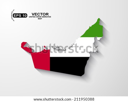 United Arab Emirates map with shadow effect - stock vector