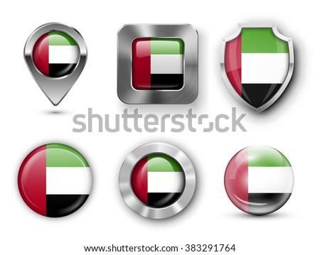 United Arab Emirates Metal and Glass Flag Badges, Buttons, Map marker pin and Shields. Vector illustrations - stock vector