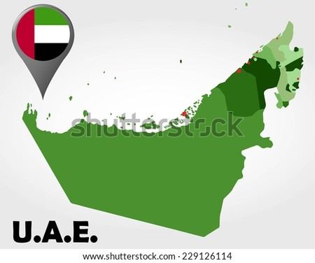 United Arab Emirates political map with green shades and map pointer. - stock vector