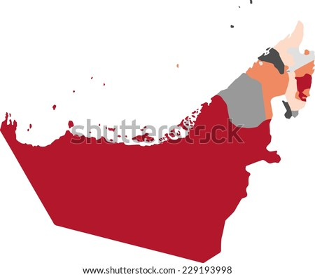 United Arab Emirates political map with pastel colors. - stock vector