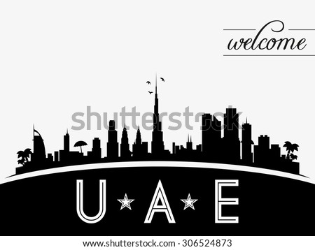 United Arab Emirates skyline silhouette vector design, black and white