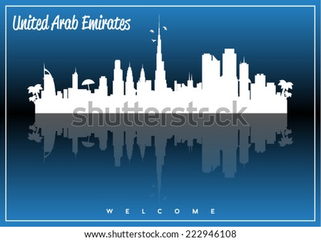 United Arab Emirates, skyline silhouette vector design on parliament blue and black background. - stock vector