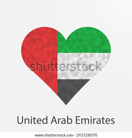 United Arab Emirates,UAE flag heart in geometric,mosaic polygonal style.Love to country.Abstract tessellation,background. Vector illustration EPS10 - stock vector