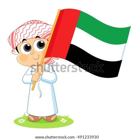 Stock Vector United Arab Emirates Uae National Day Celebration Flag Boy