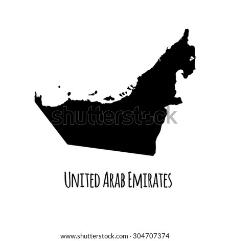 United Arab Emirates vector black outline map with caption on white background.  - stock vector