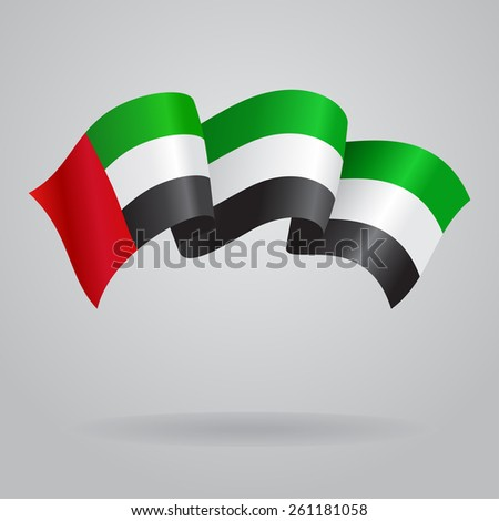 United Arab Emirates waving Flag. Vector illustration Eps 8.