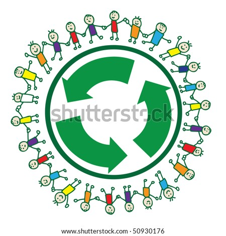 United children of the world around recycle sign