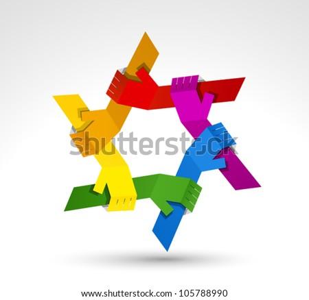 United hands. Conceptual symbol - stock vector
