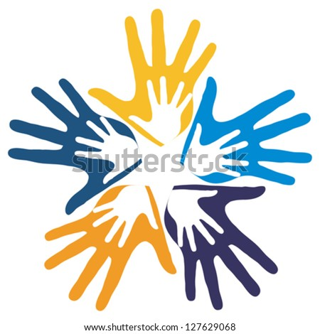 United hands vector.