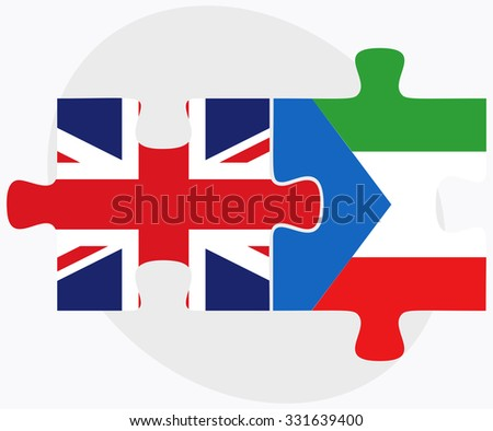 United Kingdom and Equatorial Guinea Flags in puzzle isolated on white background
