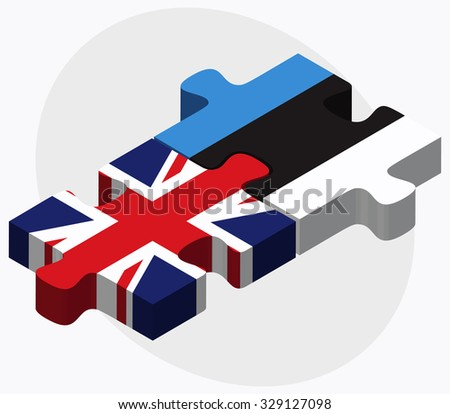 United Kingdom and Estonia Flags in puzzle isolated on white background - stock vector