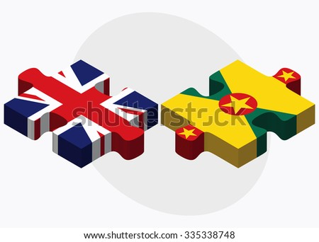 United Kingdom and Grenada Flags in puzzle isolated on white background