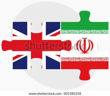 United Kingdom and Iran Flags in puzzle isolated on white background - stock vector