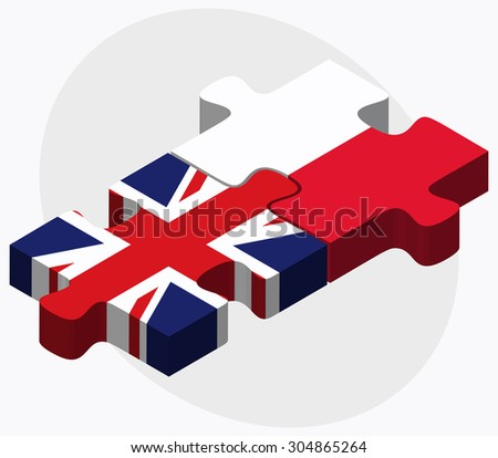 United Kingdom and Poland Flags in puzzle isolated on white background - stock vector