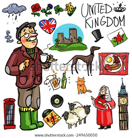 United Kingdom cartoon collection - stock vector