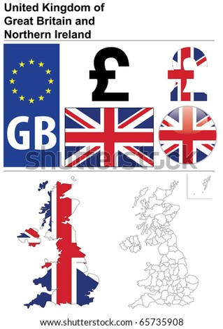 United Kingdom collection including flag, plate, map (administrative division), symbol, currency unit, glossy button. - stock vector