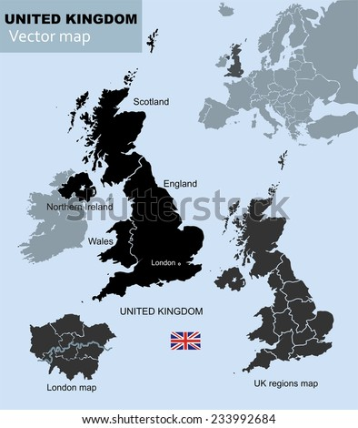 United Kingdom countries, UK regions and London vector map - stock vector