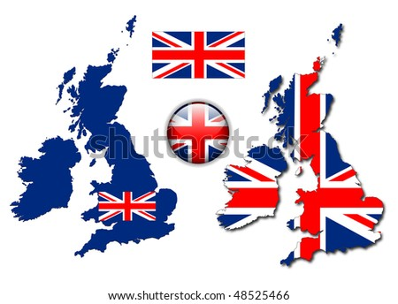 United Kingdom, England flag, map and glossy button, vector illustration set. - stock vector