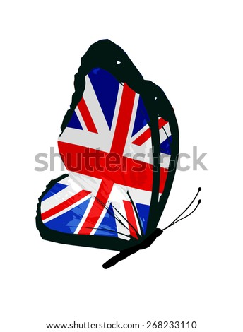 United Kingdom flag butterfly - vector