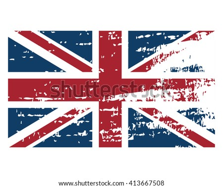 United Kingdom flag in grunge style, vector object