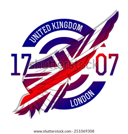United Kingdom flag on wing. Original idea with gradient. UK stamp or badge, t-shirt vector graphics. Motorcycle logo. - stock vector