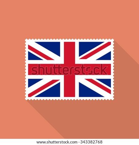 United Kingdom flag postage stamp - Vector - stock vector