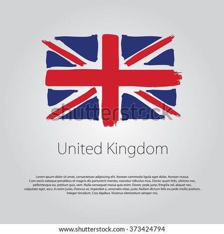 United Kingdom Flag with colored hand drawn lines in Vector Format - stock vector