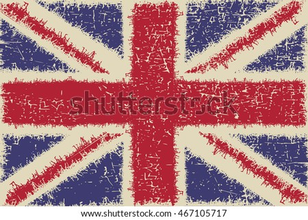 United Kingdom flag with sharped strips and grunge shapes. Great Britain. vector illustration