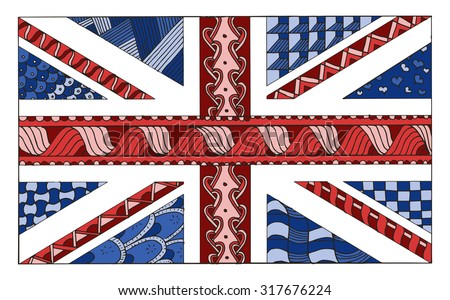 United Kingdom flag zentangle stylized, vector, illustration, freehand pencil, hand drawn, pattern, UK, color