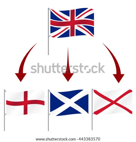 united kingdom great Britain breakup flag symbols eps10 - stock vector